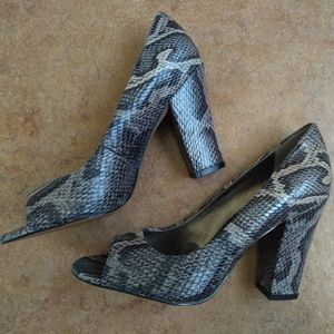 Opened Toed Faux Snake Print Heels